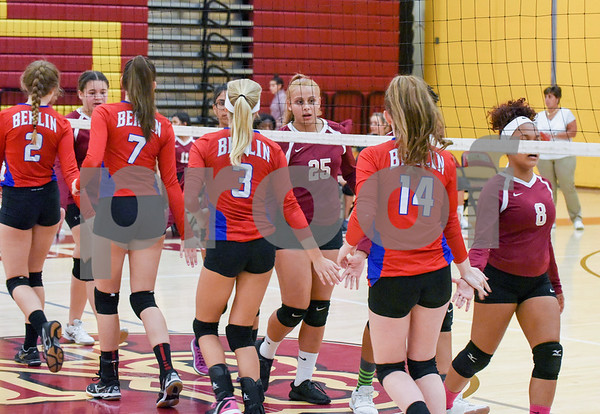 10/18/17 Wesley Bunnell | Staff Berlin girls volleyball vs New Britain on Wednesday evening at New Britain High School. New Britain's Nataly Hernandez (25) and teammates shake hands with Berlin before the match.