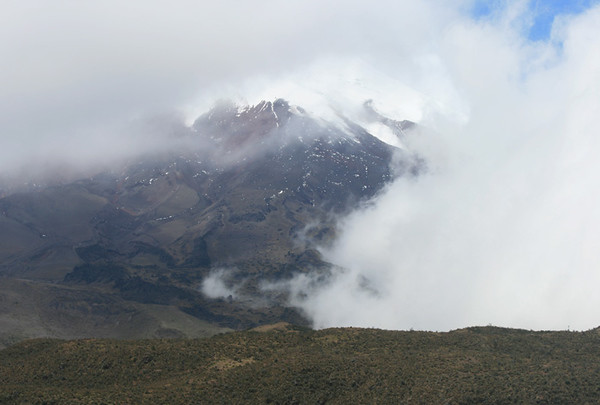 Cloud covered Cotopaxi summit