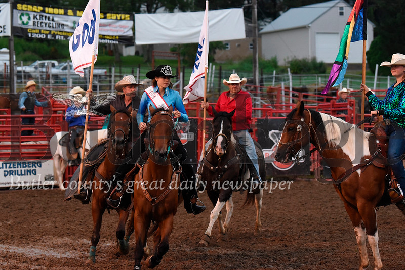 The 2019 North Washington Rodeo kicked off Tuesday night with opening ceremonies and a taste of the action to come, including bucking bronco competition, bull riding, tie-down roping and other opening events. The rodeo runs through Saturday. Seb Foltz/Butler Eagle