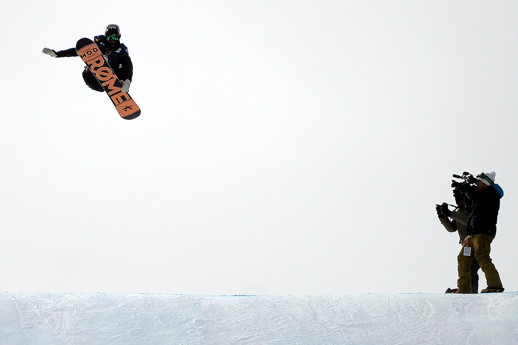 . Champion Staale Sandbech rides during the slopestyle finals of the Copper Mountain Grand Prix.  (Photo by AAron Ontiveroz/The Denver Post)