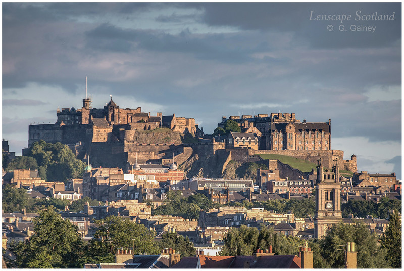 Edinburgh Castle and New Town rooftops, from Goldenacre