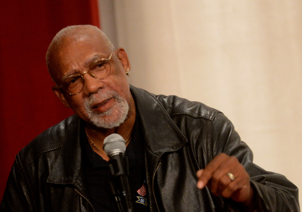 """. \""""Only way you can beat the trap is to realize your history,\"""" said Olympian John Carlos as he encouraged students to study and remember history at San Bernardino High School February 27, 2013.  GABRIEL LUIS ACOSTA/STAFF PHOTOGRAPHER."""