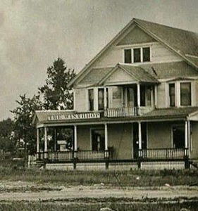 """Winthrop Hotel: The first hotel was built by John & Mary Bresee, early settlers of Winthrop, before the railroad was built in 1850. They ran it for many years before selling it to Dr. Thomas Dunton and his son Lorenzo. It became known as """"Dunton's Hotel""""."""