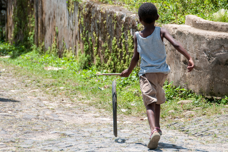 Child playing in Sao Tome, Sao Tome and Principe