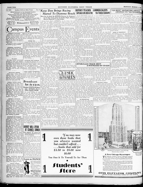 Southern California Daily Trojan, Vol. 21, No. 93, March 03, 1930