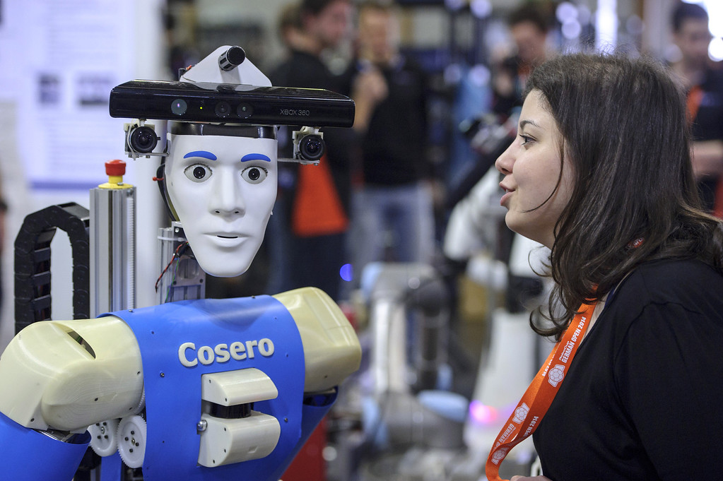 . A service robot is seen at the 2014 RoboCup German Open tournament on April 03, 2014 in Magdeburg, Germany. 950 participants from 12 countries are participating in the the three-day tournament that compete in a variety of disciplines, including soccer, rescue and dance. (Photo by Jens Schlueter/Getty Images)