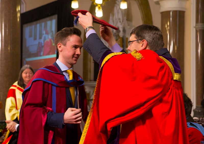 Waterford Institute Of Technology Conferring. Pictured at WIT Waterford Institute Of Technology Conferring is David O'Niell, Kilkenny who was conferred a Doctor of Philosophy from Dr. Ruaidhrí Neavyn, President, WIT. Picture: Patrick Browne
