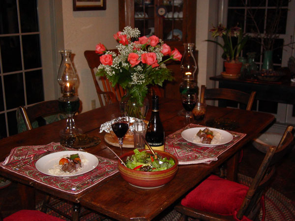 Here's our Valentine Dinner spread...