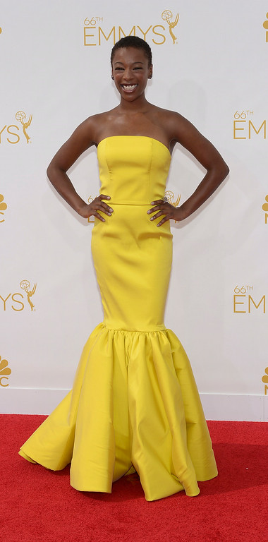 . Samira Wiley on the red carpet at the 66th Primetime Emmy Awards show at the Nokia Theatre in Los Angeles, California on Monday August 25, 2014. (Photo by John McCoy / Los Angeles Daily News)