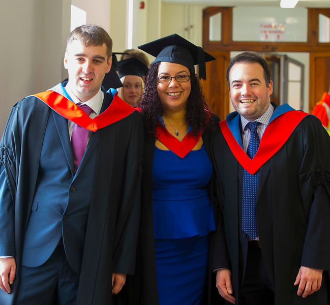 03/11/2016. Waterford Institute of Technology (WIT) Conferring Ceremonies November 2016. Pictured are Niall O'Callaghan, Portlaoise, Rachel O'Connell, Kilmeaden, Co. Waterford and Tom Raine, Tramore, Co. Waterford who graduated Higher Cert in Business. Picture: Patrick Browne