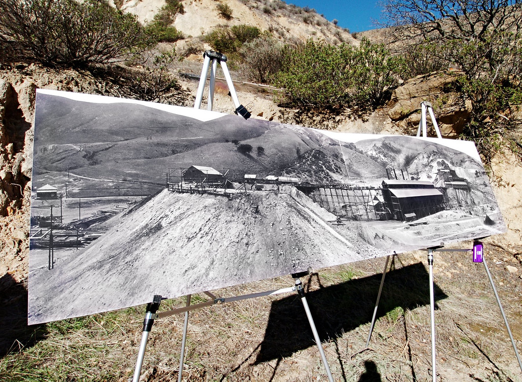 . A photo of the once thriving Tesla coal mine, taken around the turn of the 19th century, stands at the entrance to the abandoned Tesla sand mine in the Carnegie State Vehicular Recreational Area, five miles southwest of Tracy, on Jan.16, 2008. The Department of Conservation\'s Office of Mine Reclamation is permanently sealing the Tesla sand mine today as part of a statewide effort to seal mine sites that are hazardous to the public. (Gina Halferty/Staff Archives)