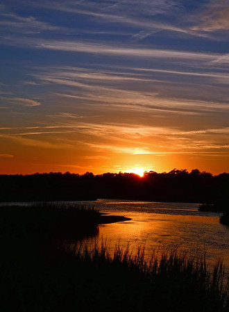 Sunset over the marshes on Pawleys Island; November 18, 2017