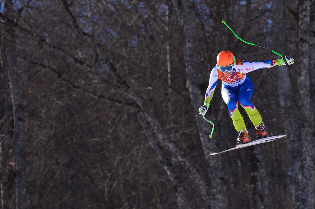 . Slovenia\'s Ilka Stuhec competes during the Women\'s Alpine Skiing Downhill at the Rosa Khutor Alpine Center during the Sochi Winter Olympics on February 12, 2014.  AFP PHOTO / DIMITAR DILKOFF/AFP/Getty Images