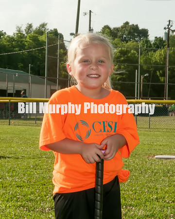 3-4 Girls T-Ball CFSB Orange Team, Coach Tosha Lyles, June 17, 2014.
