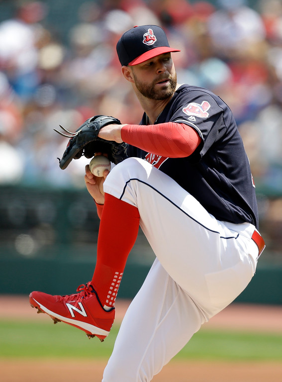 . Cleveland Indians starting pitcher Corey Kluber delivers in the first inning of a baseball game against the Texas Rangers, Thursday, June 29, 2017, in Cleveland. (AP Photo/Tony Dejak)