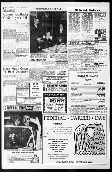Daily Trojan, Vol. 55, No. 27, October 30, 1963