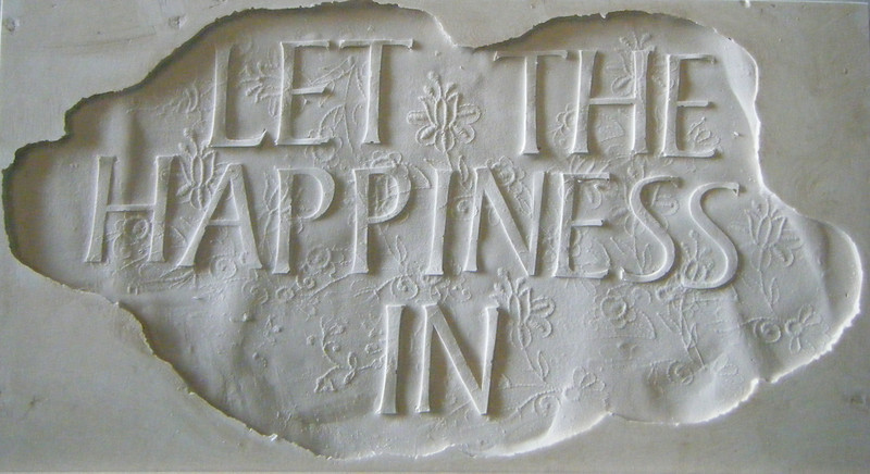 Bamber Hawes ~ 'Let the happiness in', Jesmonite panel