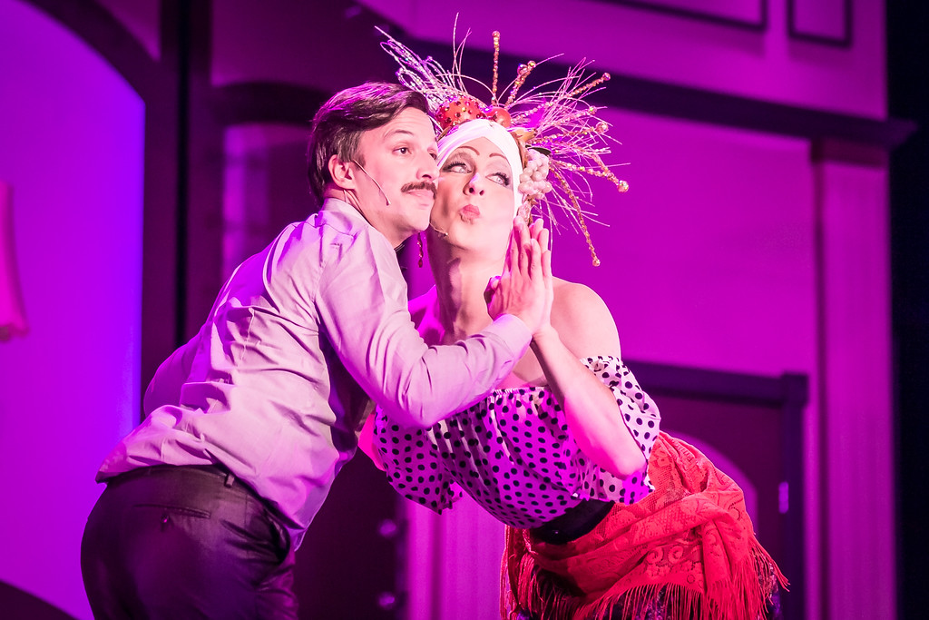. Pierre-Jacques Brault, left, and Brian Marshall perform a scene in the Mercury Theater Company production of �La Cage aux Folles.� The show continues through July 22 at Notre Dame College�s Regina Hall, 1857 S. Green Road, South Euclid. For tickets, $16 to $20, call 216-771-5862 or visit mercurytheatrecompany.org. (Daren Stahl Photography)