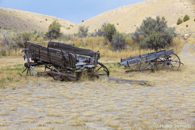 Old wagons at Bannack