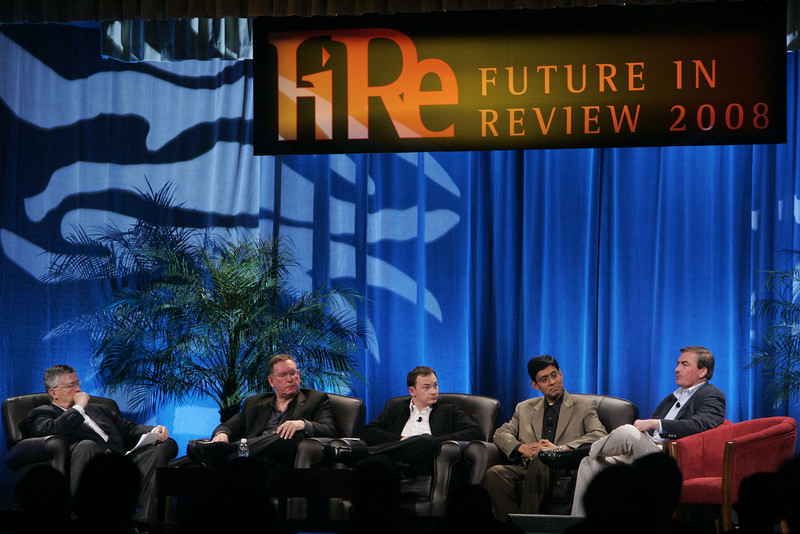 """""""Collaborative (Green) Innovation"""": (L-R) Moderator Robert Anderson, Director, Technology Transfer and IP, Illinois Institute of Technology; Mark Atkins, Chair, President, and CEO, Invention Machine Corp.; Mark Turrell, CEO, Imaginatik; Prith Banerjee, Senior VP, Research, and Director, HP Labs, Hewlett-Packard; and Steve Di Biase, Senior VP and Chief Scientific Officer, JohnsonDiversey Inc."""