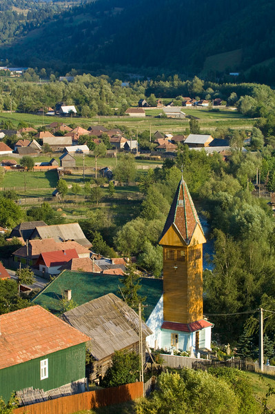 General view of Ghimes village, Trotus valley, Moldavia, Romania
