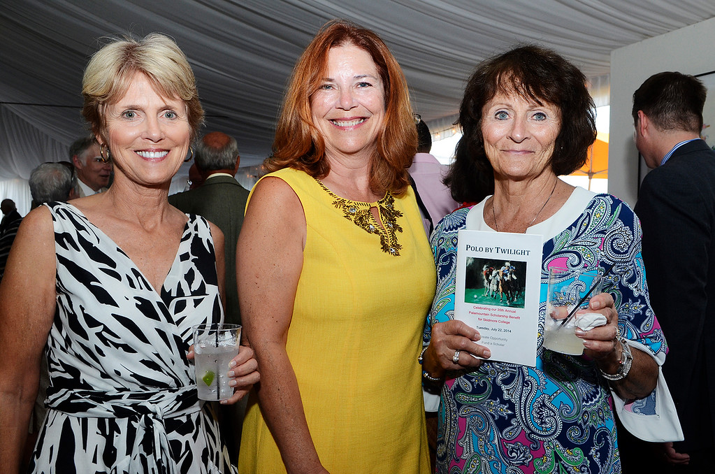 . Erica Miller @togianphotog - The Saratogian:     Tuesday evening at the Saratoga Polo Field grounds Skidmore held the Palamountain Scholarship Benefit Dinner. In attendance were (l-r) Bonnie Walmsley, Cindy Spence and Mary Mastropietro.