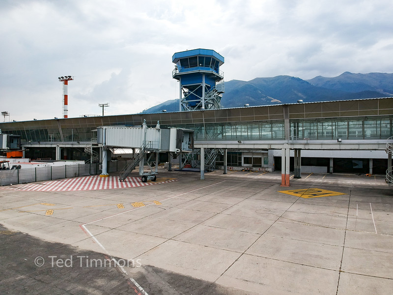 The old airport's jetways and tower.