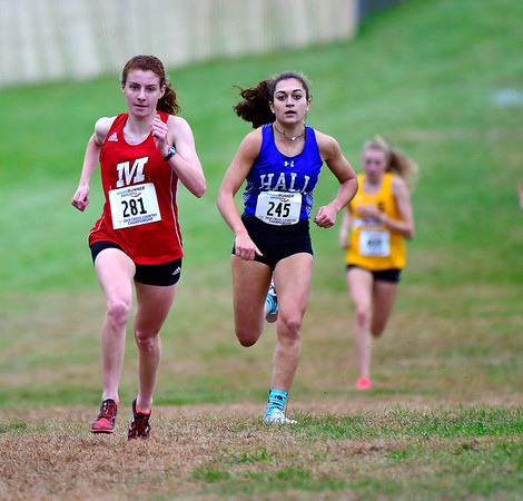 10/16/2019 Mike Orazzi | StaffrManchester High School's Kate Hedlund (281) and Hall's Jenna Zydanowicz (245) during the girls CCC XC Championship held at Wickham Park in Manchester on Wednesday.