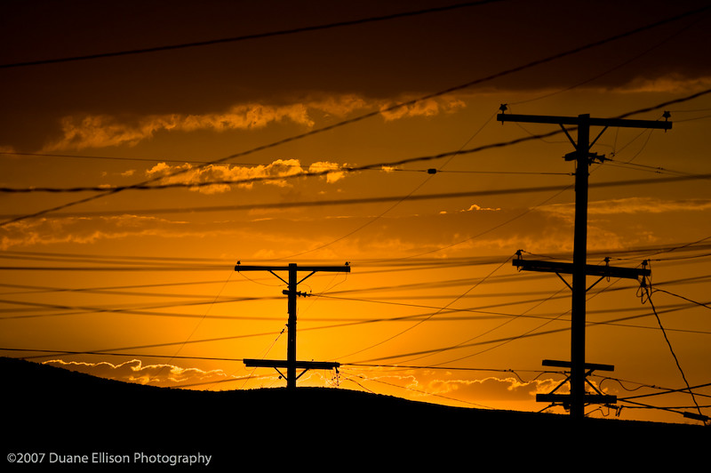 Desert Shots-32Telephone poles silhouetted against an evening sunset