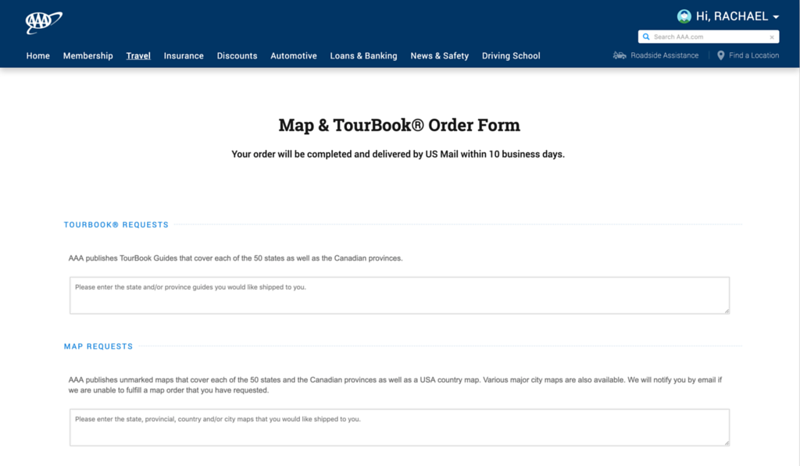 Free AAA Maps and Tour Books Order form