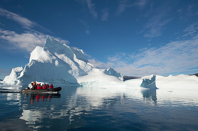Zodiac cruising in the Iceberg Graveyard in Rodefjord, Scoresby Sund, Greenland, photo by NSL Photography
