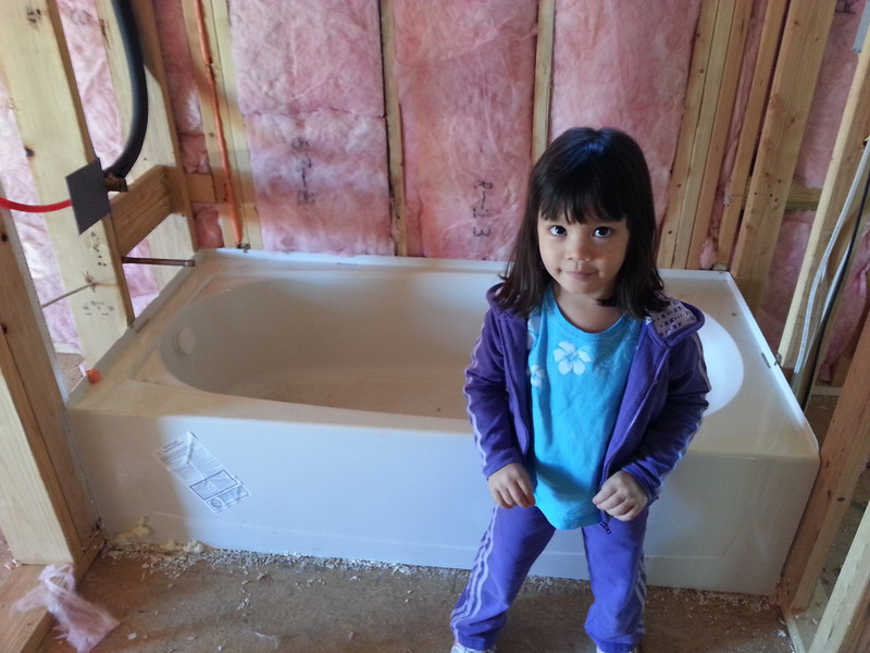 Madi and her tub.  She wouldn't get in it.  Said it was Dirty!