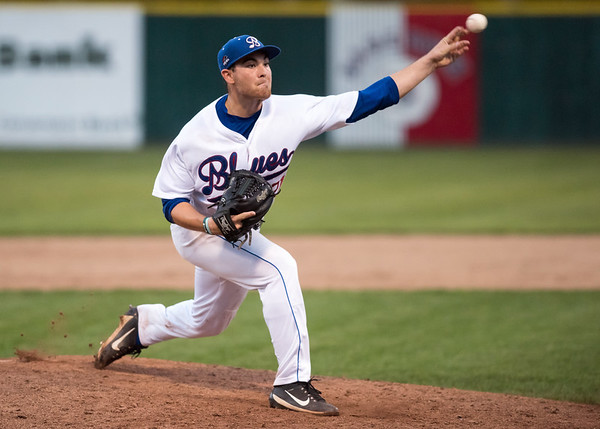 08/06/18 Wesley Bunnell   Staff The Bristol Blues vs the Pittsfield Suns in a one game playoff elimination game on Monday evening at Muzzy Field. Starting pitcher Michael Genaro (21).