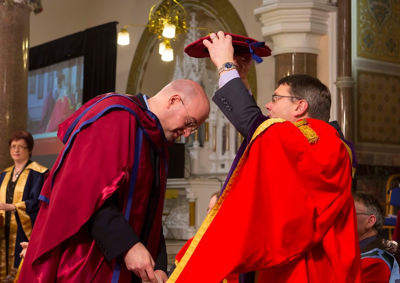 Waterford Institute Of Technology Conferring. Pictured at WIT Waterford Institute Of Technology Conferring is Ronan O'Byrne, who was conferred a Doctor of Philosophy by Dr. Ruaidhrí Neavyn, President WIT. Picture: Patrick Browne