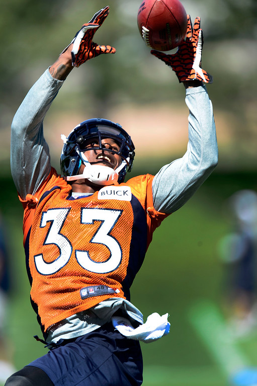 . Denver Broncos Duke Ihenacho (33) goes up for a pass during OTA\'s May 30, 2013 at Dove Valley. (Photo By John Leyba/The Denver Post)