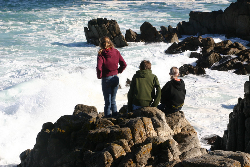 Cousins sit and stare longingly out to sea. No one knows why.