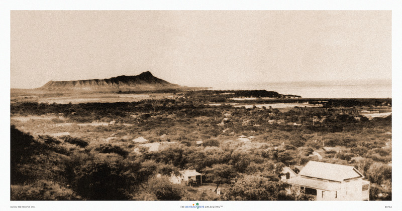 074: Diamond Head, as seen from Punchbowl, Honolulu. This sepia tinted vintage Hawaiian photo shows a unique view with a practically deserted stretch of land and Diamond Head volcano in the background. Today, this same area is rift with high rises and the coastline of Waikiki is now densely packed with hotels. Vintage Diamond Head Photograph, ca 1905.