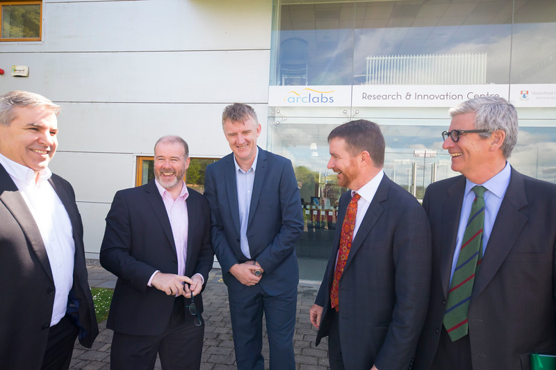 16/05/2017. Pictured at WIT ArcLabs where the Australian ambassador Richard Andrews visited. Pictured are Ciaran Cullen, Ben Cronin, Australian ambassador Richard Andrews and David Watson, Senior Trade and Investment Commissioner. Picture: Patrick Browne