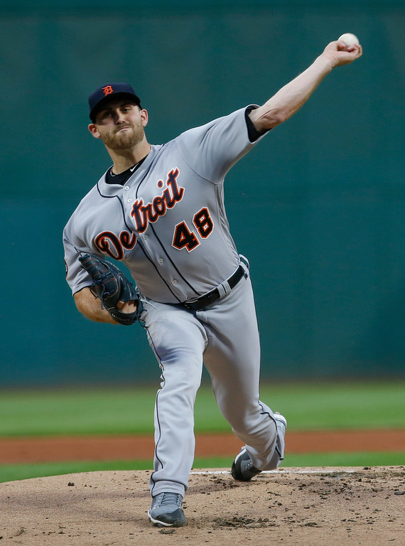 . Detroit Tigers starting pitcher Matthew Boyd delivers against the Cleveland Indians during the first inning in a baseball game, Tuesday, Sept. 12, 2017, in Cleveland. (AP Photo/Ron Schwane)
