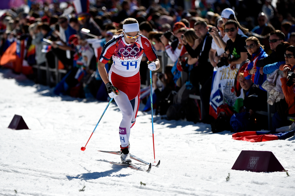 . Astrid Uhrenholdt Jacobsen of Norway competes in the Women\'s 10 km Classic during day six of the Sochi 2014 Winter Olympics at Laura Cross-country Ski & Biathlon Center on February 13, 2014 in Sochi, Russia.  (Photo by Lars Baron/Getty Images)