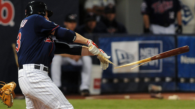 . Justin Morneau\'s broken bat grounder into a double play in the first inning scored Brendan Harris from third, giving the Twins an early lead against the Pittsburgh Pirates at the Metrodome on Tuesday June 16, 2009. (Pioneer Press: Chris Polydoroff)