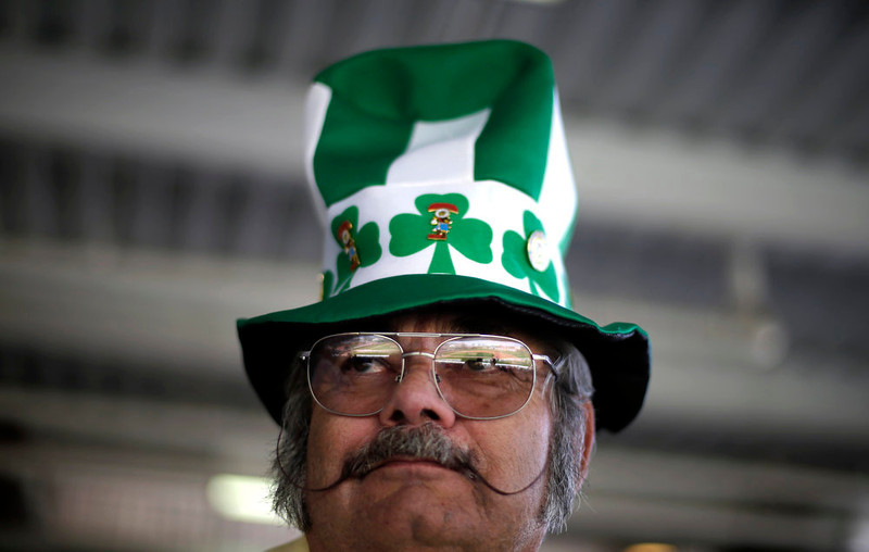 . Michael Smith wears a hat in honor of St. Patrick\'s Day as the Chicago White Sox play the Kansas City Royals in an exhibition spring training baseball game Sunday, March 17, 2013, in Surprise, Ariz. (AP Photo/Gregory Bull)