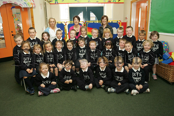 Pictured with Mrs O'Hanlon, Anne McEvoy and Caroline MacPhillips are the Primary 1 class at Cloughoge Primary School. 07W37N28