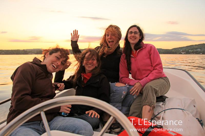 Many ladies on a Boston Whaler sunset cruise.