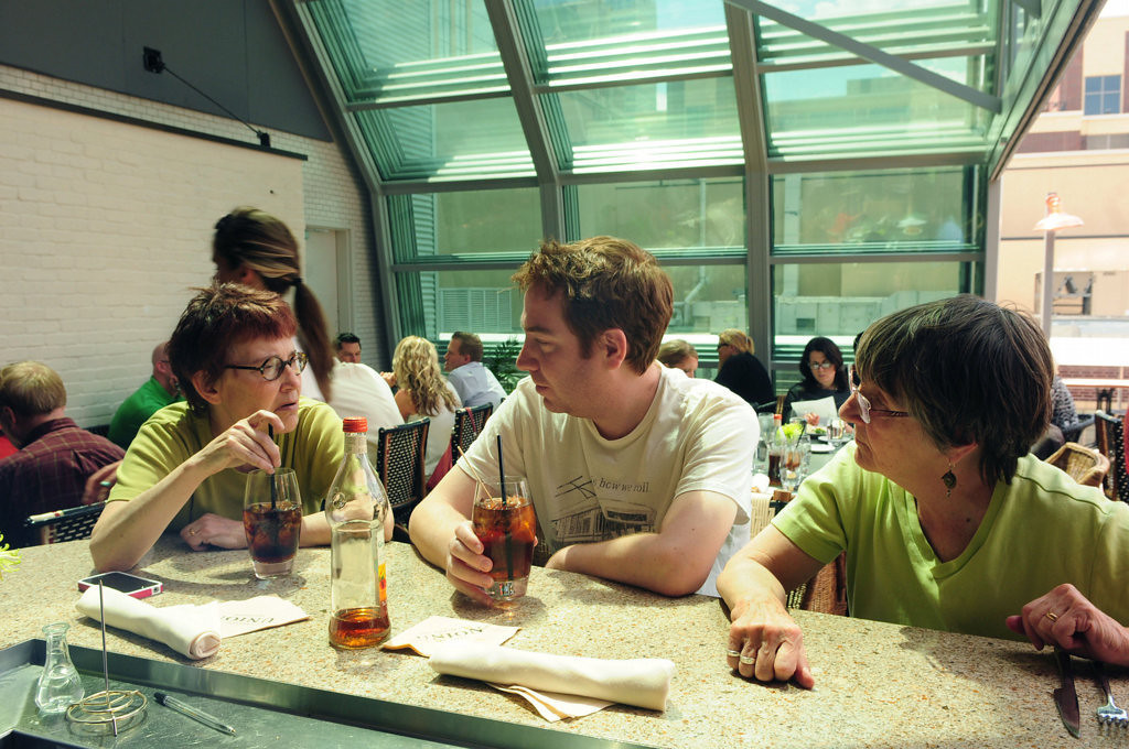 . From left: Chris Curtiss of St. Paul, Ben DeVries of San Francisco and Susan De Vries of St. Paul enjoyed lunch under Union\'s retractable roof on May 14, 2013. (Pioneer Press: Scott Takushi)