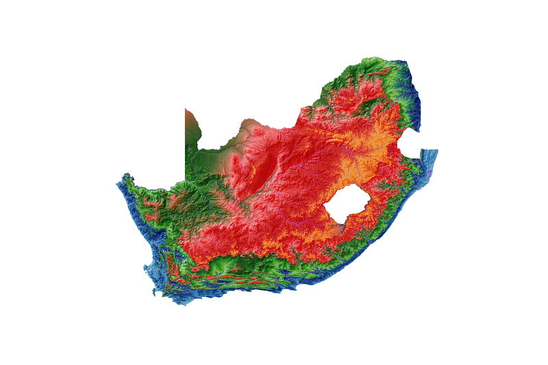 Elevation map of South Africa