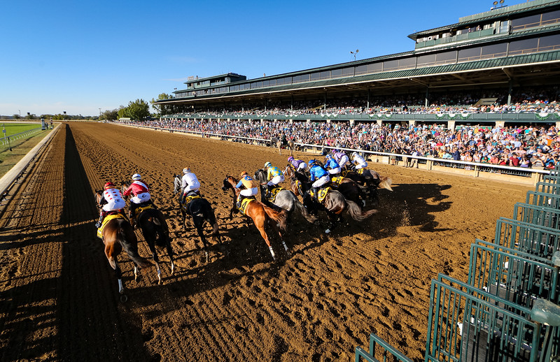 """Maxfield (#6, Street Sense) wins the Breeders' Futurity (G1) a """"Win and You're In"""" Breeders' Cup Juvenile Division at Keeneland on 10.05.2019. Jose Ortiz up, Brendan Walsh trainer, Godolphin owner."""