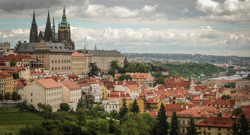 Prague: St. Vitus Cathedral, Mala Strana and Vltava River, from Petrin HIll