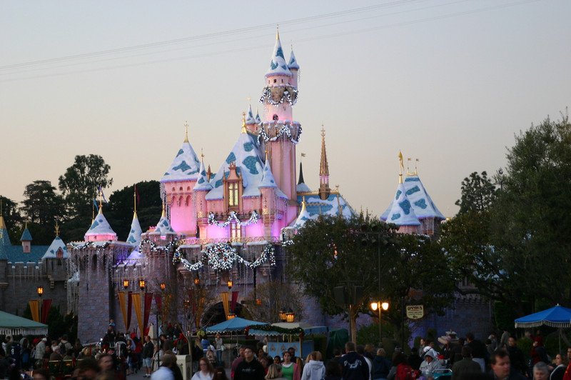 Sleeping Beauty castle at dusk.