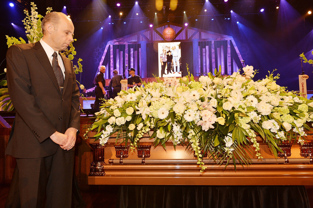. WSM DJ Eddie Stubbs attends the funeral service for George Jones at The Grand Ole Opry on May 2, 2013 in Nashville, Tennessee.  (Photo by Rick Diamond/Getty Images for GJ Memorial)